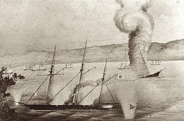 朝陽丸を撃沈する蟠竜丸(箱館湾海戦)
