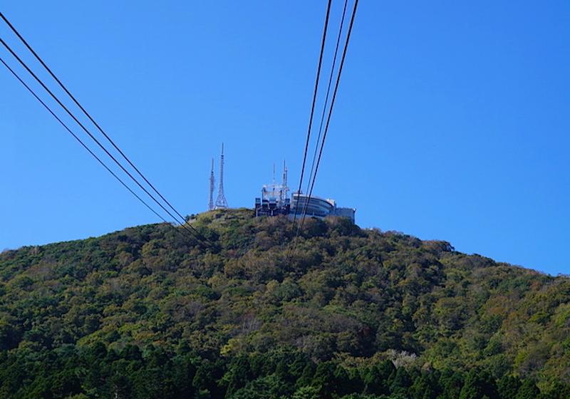 山麓から眺めた山頂駅